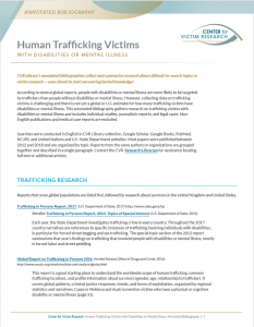 Thumbnail of Annotated Bibliography on Human Trafficking Victims