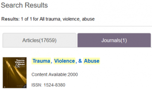 Search results for journal title for Sage publisher
