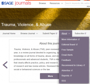 Journal title page with About dropdown menu open