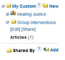 Custom folders options to share articles