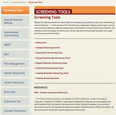 Mental Health and Substance Abuse Screening Tools