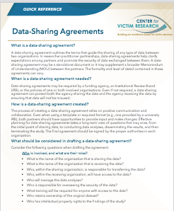 Data Sharing Agreement Quick Reference